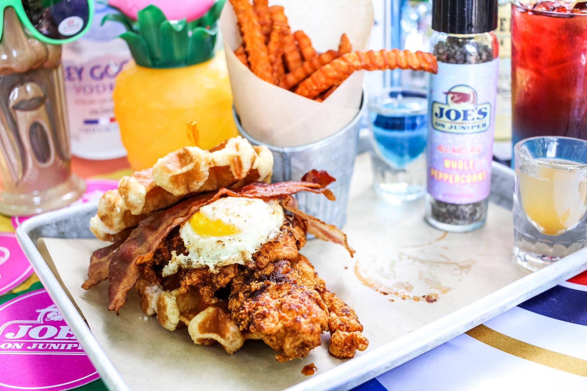 Try the mouth-numbing flaming chicken and waffle sandwich | WhereTraveler