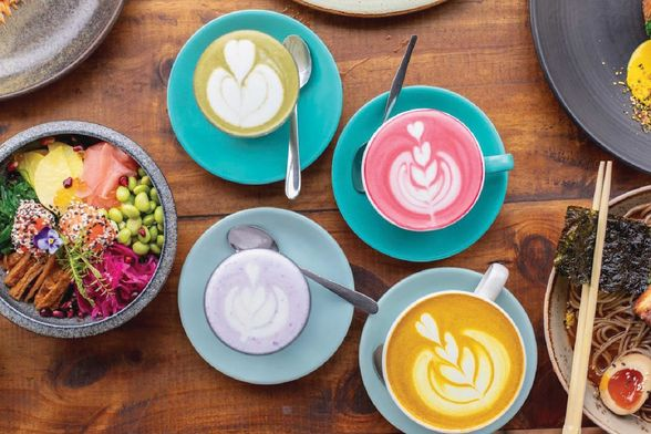 Colourful coffees from Naughty Boy cafe