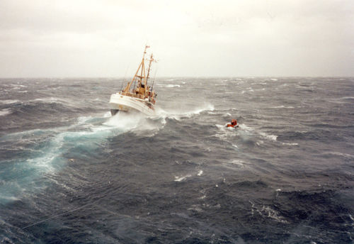 A Coast Guard cutter braves the swells during the October storm of '91 | WhereTraveler