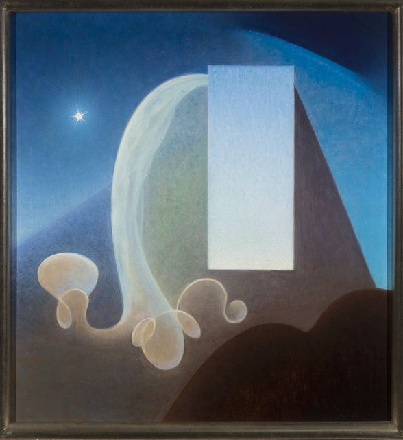 Agnes Pelton, Day, 1935. Oil on canvas. Collection of Phoenix Art Museum; Gift of The Melody S. Robidoux Foundation.