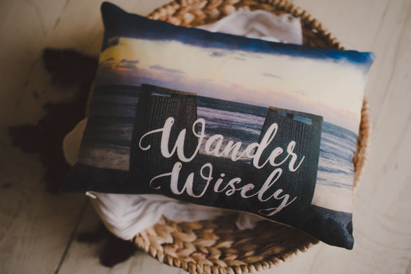 Pillow that says Wander Wisely