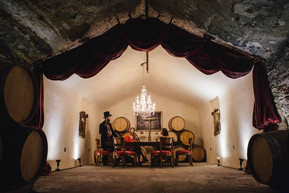 Inside the Buena Vista Winery cave.