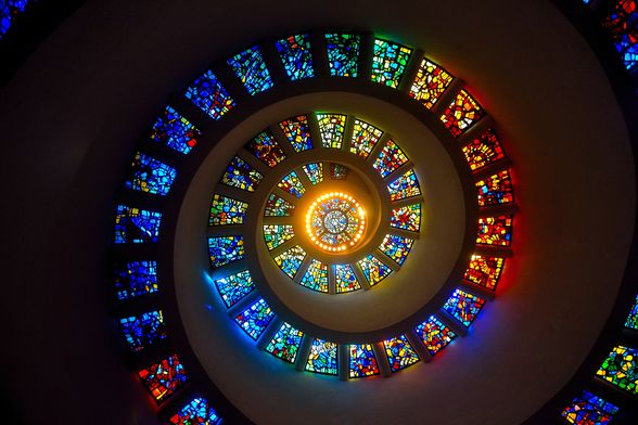 """""""The Glory Window"""" by Gabriel Loire is located in the Thanksgiving Chapel"""