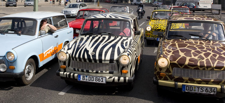 Trabants on a tour in Berlin, Germany