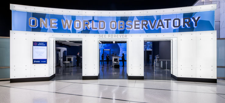 The entrance to One World Observatory, the newly-finished, iconic architectural feat in New York City.