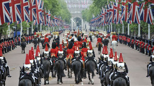 Royal horseback parade, London, UK