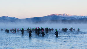 Athletes prepare for the swim portion of the race.