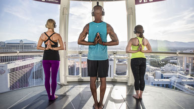 Yoga on the High Roller observation wheel at the Linq Promenade in Vegas