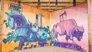 This mural by artist Dan Colcer decorates the back patio stage at Armoury D.E. in Deep Ellum.