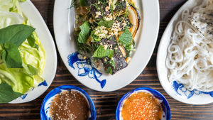 Dishes from Hanoi House restuarant in NYC