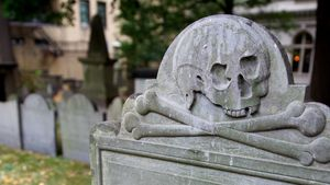 Puritan headstone at King's Chapel Burying Ground in Boston