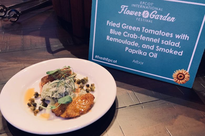 Sample of Fried Green Tomatoes with Blue Crab-Fennel Salad from the Arbor Outdoor Kitchen at the Epcot Flower and Garden Festival